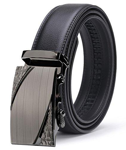 ITIEZY Herren Leder Gürtel Ratchet Automatik Schnalle Designer Luxus Gurt- Gr. Bis zu 49,2 inch (125cm), Schwarz (Designer-schnalle)