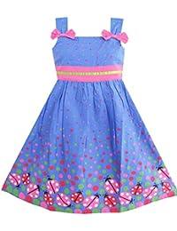 Mädchen Kleid Blau Fehler Rosa Punkt