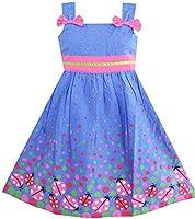 Girls Dress Blue Bug Pink Dot Size 8 Years