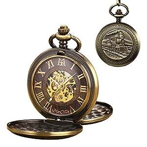 ManChDa Men Pocket Watch with Chain Vintage steam Train Analog mechanisch Skelett Römische Ziffern Bronze