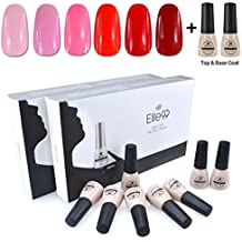 Elite99 Kit Uñas de Gel Esmalte Semipermanente 8pcs Colore Gel + Top&Base Coat Shellac Laca Soak Off Top Coat Base Coat UV LED Manicura Arte 7ml-C43