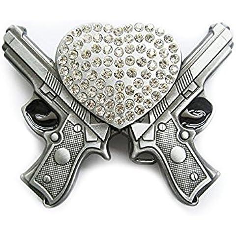 eeddoo Cinturón Hebilla–Corazón con Cristales & pistolas–Guns & Hearts Buckle (Buckle para cambio Cinturón para hombre y