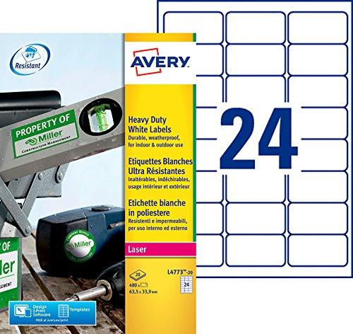 AVERY - Pochette de 480 étiquettes autocollantes ultra-résistantes en polyester, Personnalisables et imprimables, Format 63,5 x 33,9 mm, Impression laser, (L4773-20)