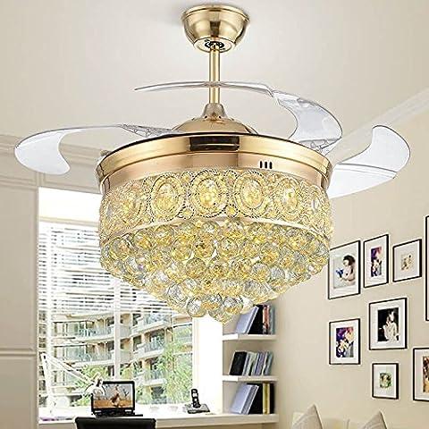 Golden Crystal Ventilatore da soffitto luci a