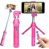 Palo Selfie Trípode, PEYOU [ 3 en 1] Extensible Selfie Stick Trípode con Obturador Remoto Recargable y GoPro Adaptador para iPhone X / 8 / 8 / 7 / 7plus / 6S, Android Samsung Galaxy S8 / S8 Plus / S7 / s7edge, Camara, GoPro Hero 3/4/5 (Rosado)