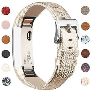 Bracelet en cuir Vancle pour Fitbit Alta, Bracelet de Remplacement Fitbit Alta réglable et confortable avec boucle en acier inoxydable (Sans Traqueur) (Gold)