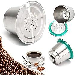 Lovinn mouture fine Café Capsule Tasse en acier inoxydable réutilisable rechargeables pour Nespresso