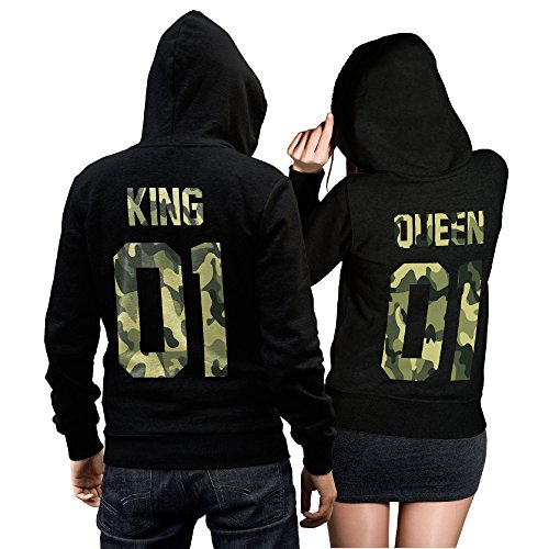 *King Queen Pullover Pärchen Set Camouflage- 2 Hoodies für Paare – Couple-Pullover – Geschenk-Idee – CVLR® (King M + Queen M)*