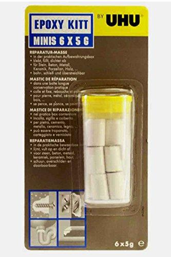 Uhu® Epoxy Kitt Minis 6 x 5g - 2 Komponenten Knettmasse - klebt, füllt, dichtet - bohr- schleif- & überstreichbar