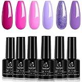 Beetles Gel Nail Polishes- Spring Summer Pink Gel Nail Polish Set, 6 Colors Magenta Purple Nail Gel Polish Soak Off Nail…