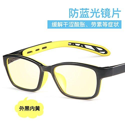 KOMNY Kinder Anti Blaue Strahlung Nachweis Brille Kurzsichtigkeit Augen Computer Handy Spiel Flache Spiegel Schutzbrille, Außen schwarz, innen gelb