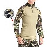 Herren BDU Shooting Combat Long Sleeve Camo Shirt mit Ellenbogenschoner Mandrake Kryptek für Tactical Military Armee Airsoft Paintball Small  - Mandrake Kryptek