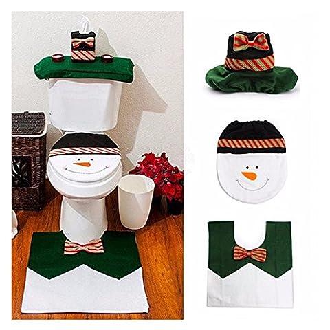 Gabkey 4 Weihnachts Bad Set Sitzbezug Tank Deckel Teppich & Tissue Cover für Badezimmer Dekoration - schneemann