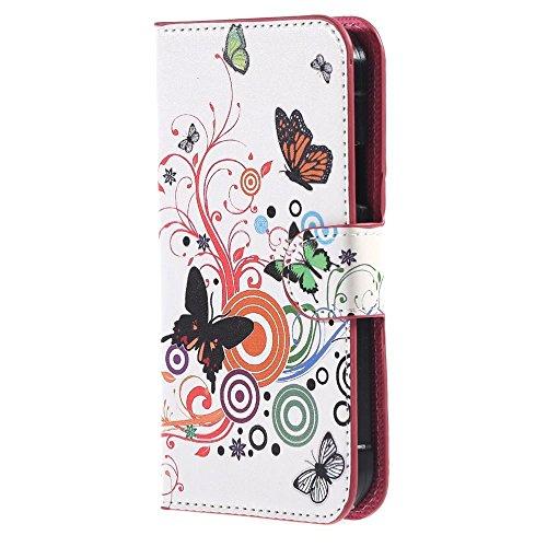 Schutzhülle für Samsung G388F - PU Ledertasche im Bookstyle Brieftasche Leder Hülle für Samsung Galaxy Xcover 3 III (SM-G388F) Tasche Handyhülle Flip Case Cover Schutzhülle (Bunter Schmetterling)