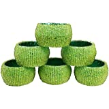 Vishal India Craft Set Of 6 Napkin Ring, Beaded Napkin Ring, Handcrafted Unique Napkin Holder, Tissue Holder, Napkin Organiser For Table