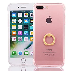 iPhone 7 Plus Case, Yoowei® Ultra Thin Crystal Clear Soft Silicone Gel cover with 360 Degree Rotating Ring Stand/Ring Holder [Drop Protection/Shock Absorption Technology] for iPhone 7 Plus 5.5