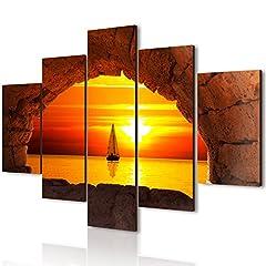 Idea Regalo - Lupia Vogue quadro su legno 5 pezzi Finestra Sul Tramonto 66x115 cm