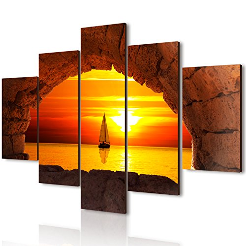 Lupia Vogue Quadro Multipannello Vogue Finestra Sul Tramonto, Legno, Multicolore, 66x115x0.8 cm