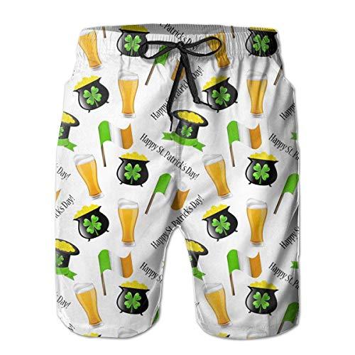 KLYDH St. Patrick's Day Irish Shamrock Pattern Men's Beach Shorts Lightweight Swimming Shorts,Size:X-Large -