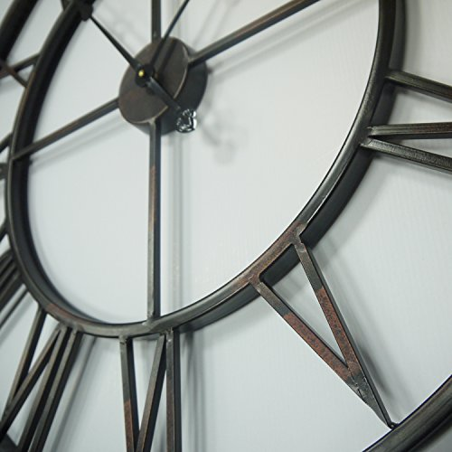 Walplus 76x76 cm Roman Iron Wall Clock Art Decals Home Decoration Living Bedroom Office Décor DIY, Black