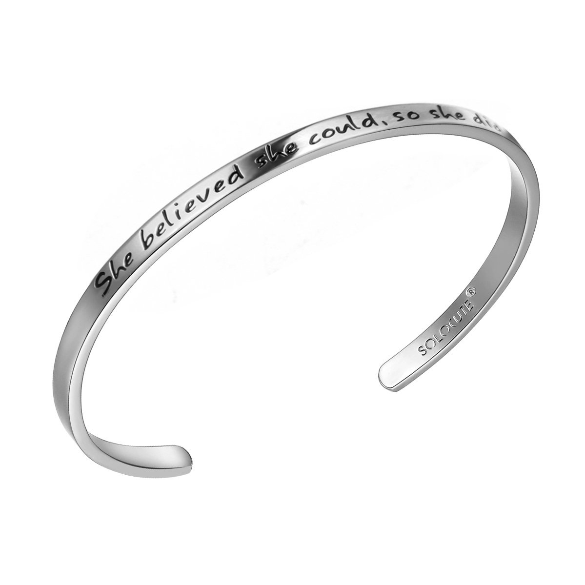 Solocute Cuff Bangle Bracelet Engraved She Believed she Could so she did Inspirational Jewelry, for Christmas Day, Thanksgiving Day and Birthday