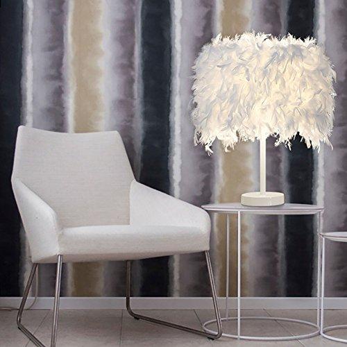 Stylische Wohnzimmer Tischleuchte aus Federn