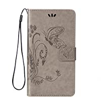 HTC One M8 Case [With Tempered Glass Screen Protector],idatog(TM) Magnetic Flip Book Style Cover Case ,High Quality Classic Elegant Butterfly Flower Pattern Design Premium PU Leather Folding Wallet Case With [Credit Card Slots] Stand Function Folio Protective Holder Perfect Fit For HTC One M8 (Grey)