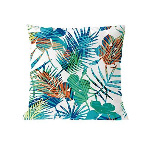Xmiral Kissenhüllen Pillowcase Baumwollmischung Grün Pflanze Blume Gedruckte Kopfkissenbezug Kissenbezug Werfen 45cmx45cm(P)