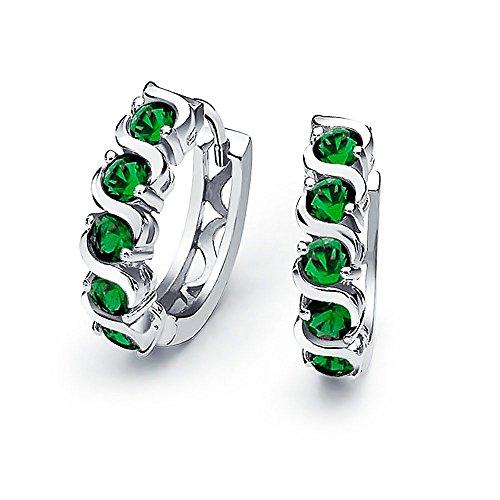 Grüne Welle Runden Zirkonia CZ Kleine Kpop Huggie Creolen Für Damen Für Herren Simulierten Smaragd Sterling Silber