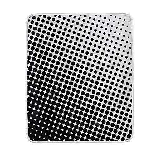 MUMIMI - Manta de Terciopelo Ultra Suave con diseño de Lunares Negros, Ligera, acogedora y acogedora, para sofá o Cama, para Todas Las Estaciones, de 127 x 152 cm, poliéster, 50x60