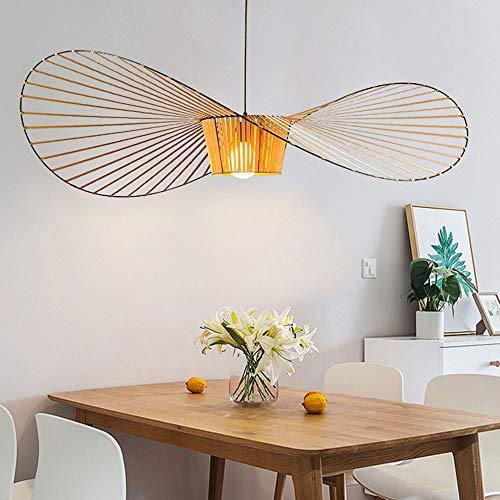 E27 Pendelleuchten Gelb Faser und Metall Pendellampe Hut-Form Design Esstisch Esszimmer Dekor Deckenlampe Hängeleuchte Wohnzimmer Schlafzimmer Cafe Bar,φ80CM (Gelb)