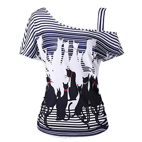 Qingsiy Camiseta a Rayas para Mujer Camisa Fuera de la Raya del Hombro Top Color Camisa con Estampada Gato Negro Casual de Las Mujeres Blusa fácil Tops Manga Corta(Negro,XL)