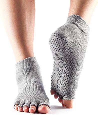 Toesox–Calcetines Tobillo Mitad dedos Yoga calcetines, gris, medium