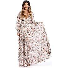 Magiyard Vestidos Playa Mujer, V Cuello de Manga Larga de Gasa Floral Largo Vestido de