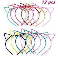 TIMESETL 12Pcs Cat Ear Headband Plastic Cat Hairband Cat Bow Hairbands Makeup Party Headwear for Women Girls