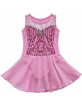 iiniim Vestido de Danza Ballet Niña con Lentejuelas Brillante Tutú Ballet Niña de Algodón 3-12Años