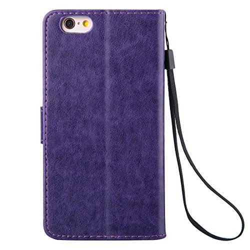 Phone case & Hülle Für iPhone 6 Plus / 6s Plus, Crazy Horse Texture Printing Horizontale Flip Leder Tasche mit Halter & Card Slots & Wallet & Lanyard ( Color : Grey ) Purple