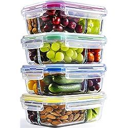 Boite verre (X4, 1040ml) | Boite alimentaire en verre hermétique 3 compartiments | Boite de conservation alimentaire | Passe au four, au micro-ondes, au congélateur et au lave-vaisselle