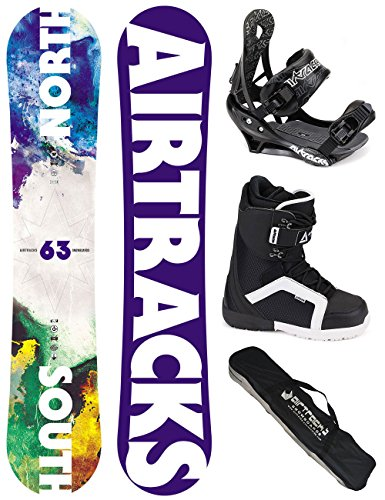AIRTRACKS-SNOWBOARD-SET-BOARD-NORTH-SOUTH-159-SOFTBINDUNG-SAVAGE-SOFTBOOTS-STRONG-QL-45-SB-BAG