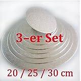 Cake-board-Set 3 tlg. ca. Ø 20 / 25/ 30 cm silber, Kuchenplatte rund aus Pappe, Tortenunterlage set