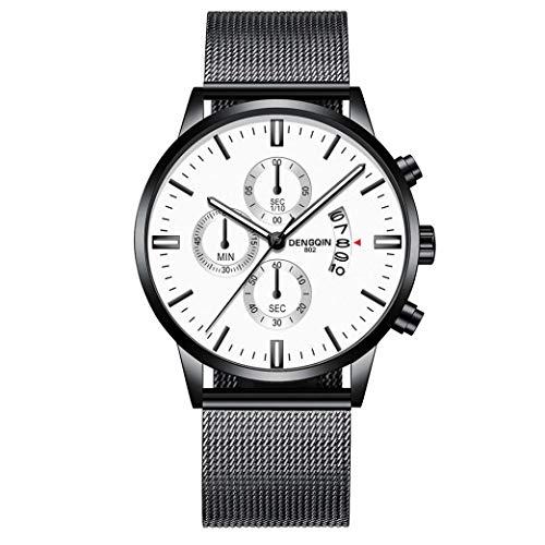 IK Herren-/Damen-Uhr Ø 40mm mit Milanaise-Armband Chenang Herren-/Damen-Armbanduhr mit Kalender Datumanzeige Multi-funktion Watch 806 Mesh mit einzelnen Kalender