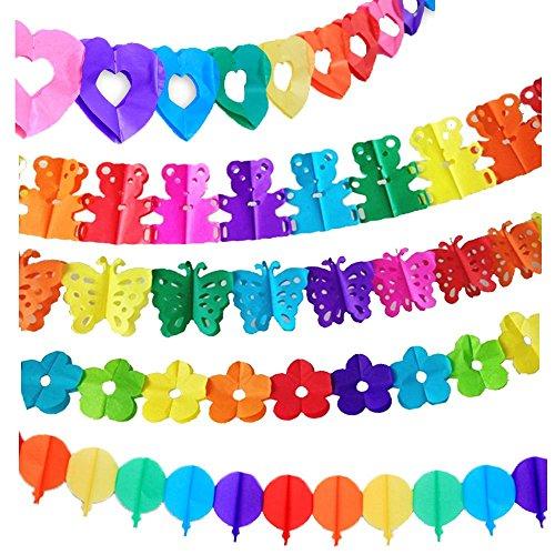 Super44day 10 pezzi colorati Ghirlanda Carta velina Ghirlanda set, Ghirlanda Craft, per la decorazione di nozze, decorazione del partito, festa di compleanno, Nursery Decorazione forma casuale