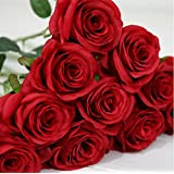 9 pcs/Lot red rose Artificial Flowers Real Touch rose Flowers, Home decorations for lover or Wedding Party or Birthday and Christmas gift by Green jump