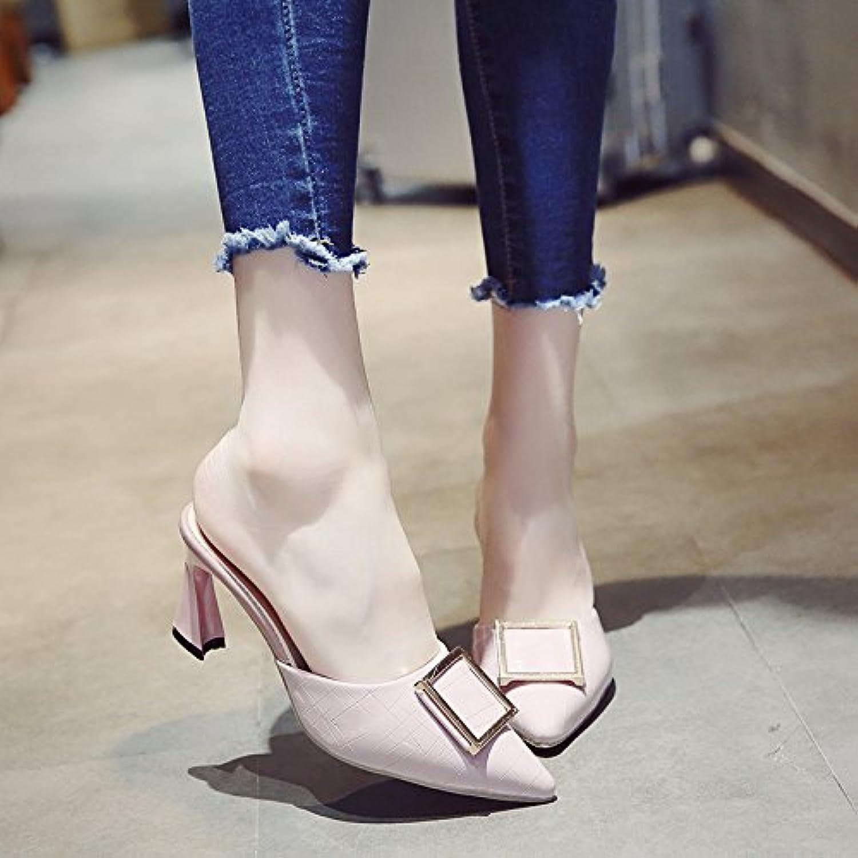 SCLOTHS Frauen Flip Flops Fein mit ziehen die Hälfte äußeren Verschleiß High Heel Wies