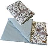 Wickeldecke, Wickelunterlage für unterwegs, Wickelauflage Wickeltuch mit Wendedesign, Blume Vintage blau mint  SmukkeDesign NEU