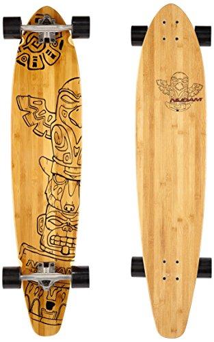 Nijdam Pro-Line Longboard Kicktail Bamboo, Schwarz/Rot, One Size/42 Zoll