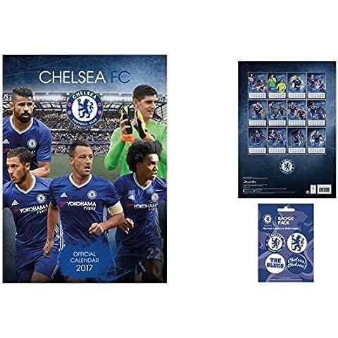 Set: Calcio, Chelsea FC, Calendario Ufficiale 2017 (42x30 cm) E 1x Set Di Badge (15x10 cm)
