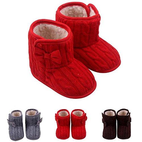Bluestercool Bébé bowknot douce Sole hiver Chaussures chaudes bottes