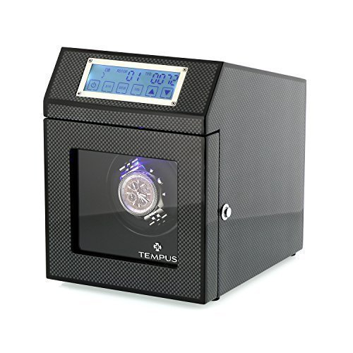 **SPECIAL OFFER** High Quality Single Watch Winder for 1 Automatic Watch Carbon Fibre with Luxury Black Lining with Touch Screen Control by Tempus