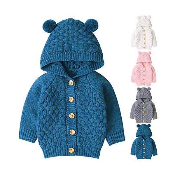 Borlai 3-24M Bebé De Punto De Abrigo Lindo Oído Con Capucha Suéter Chaqueta Casual Cardigan Outwear para Niño 2